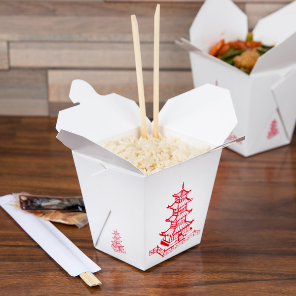 Fold-Pak 26MWPAGODM 26 oz. Pagoda Chinese / Asian Microwavable Paper Take-Out Container - 50/Pack