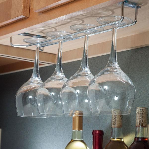 "Hanging Wine Stemware Holder 10/""L Chrome Glass Hanger Rack Home Bar Pub"