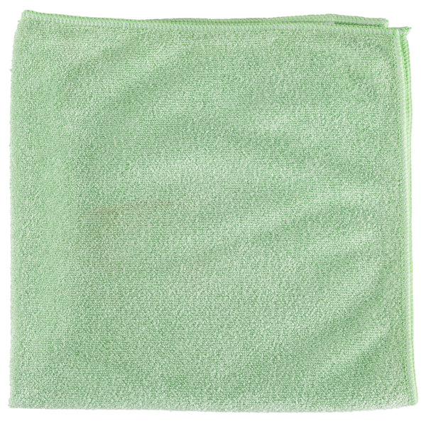"""Unger MB400 SmartColor MicroWipe 16"""" x 16"""" Green Medium-Duty Microfiber Cleaning Cloth - 10/Pack"""