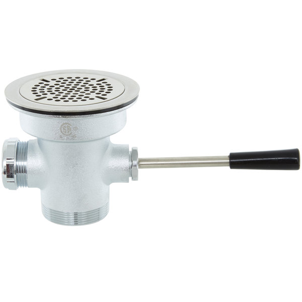 "T&S B-3972-XS Waste Drain Valve with Short Lever Handle and 3 1/2"" Sink Opening Main Image 1"