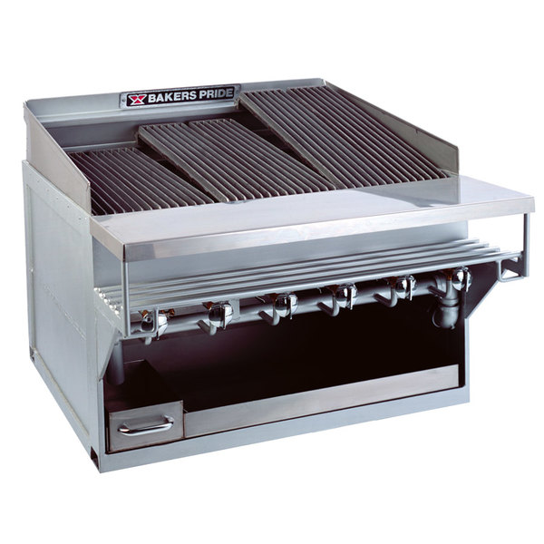 """Bakers Pride CH-8GS Natural Gas 44"""" 8 Burner Heavy Duty Glo-Stone Charbroiler - 144,000 BTU Main Image 1"""