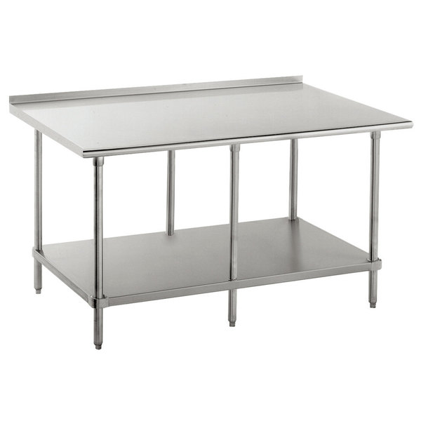 """16 Gauge Advance Tabco FAG-3010 30"""" x 120"""" Stainless Steel Work Table with 1 1/2"""" Backsplash and Galvanized Undershelf"""