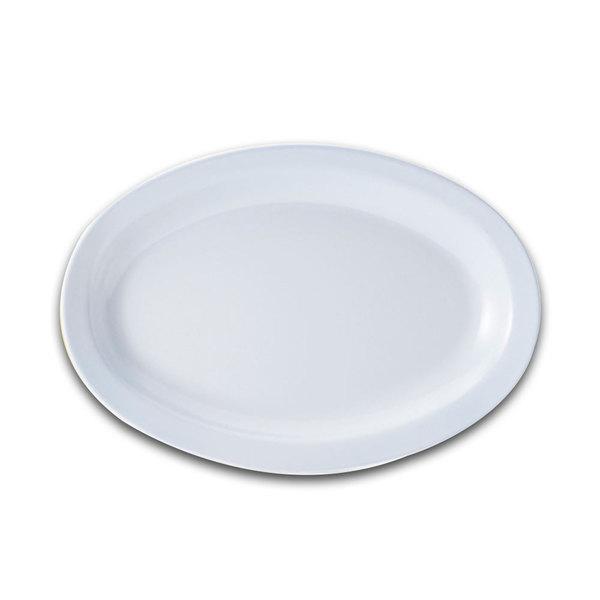 "GET OP-614-W White 13 1/4"" SuperMel Oval Platter - 12/Case"