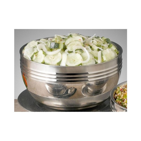 Bon Chef 9317 Cold Wave 0.75 Qt. Stainless Steel Triple Wall Bowl with Stackable Lid Main Image 2