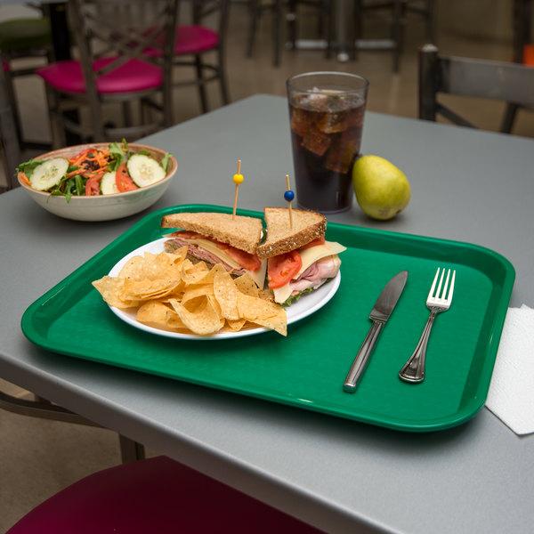 "Carlisle CT141809 Customizable Cafe 14"" x 18"" Green Standard Plastic Fast Food Tray - 12/Case"