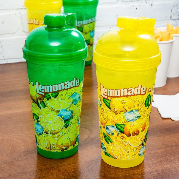 32 oz. Flip-Top Yellow / Green Lemonade Sports Bottle - 100/Case Main Image 3
