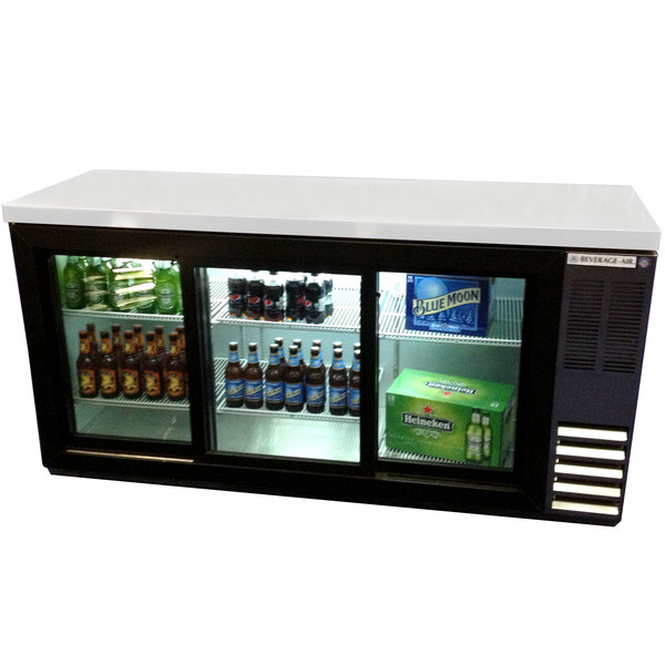 "Beverage-Air BB72HC-1-F-GS-B-27 72"" Black Food Rated Pass-Through Sliding Glass Door Back Bar Refrigerator with 2"" Thick Top Main Image 1"
