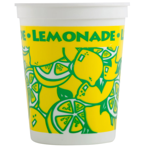 16 Oz Squat Plastic Lemonade Cold Cup With Straw And Lid