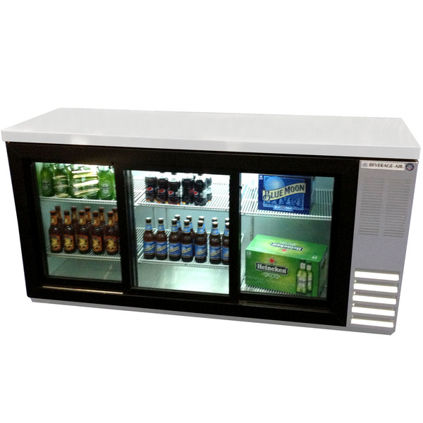 "Beverage-Air BB72HC-1-F-GS-S-27 72"" Stainless Steel Food Rated Pass-Through Sliding Glass Door Back Bar Refrigerator with 2"" Thick Top"