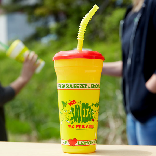 """32 oz. """"We Squeeze to Please"""" Tall Plastic Souvenir Cup with Straw and Lid - 300/Case"""