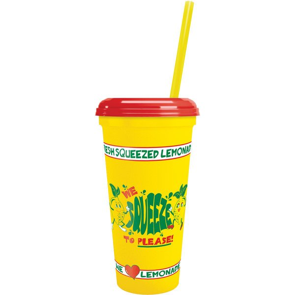"""32 oz. """"We Squeeze to Please"""" Tall Plastic Souvenir Cup with Straw and Lid - 300/Case Main Image 1"""