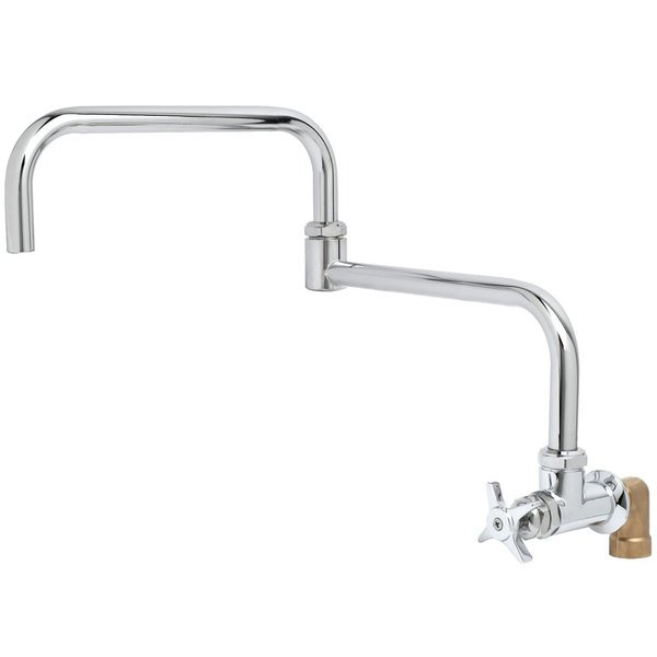 "T&S BF-0299-24DJ Big Flo Polished Chrome Single Hole Wall Mount Faucet with 90 Degree Installation Kit, 24"" Double Joint Swing Nozzle, and 4 Arm Handle"