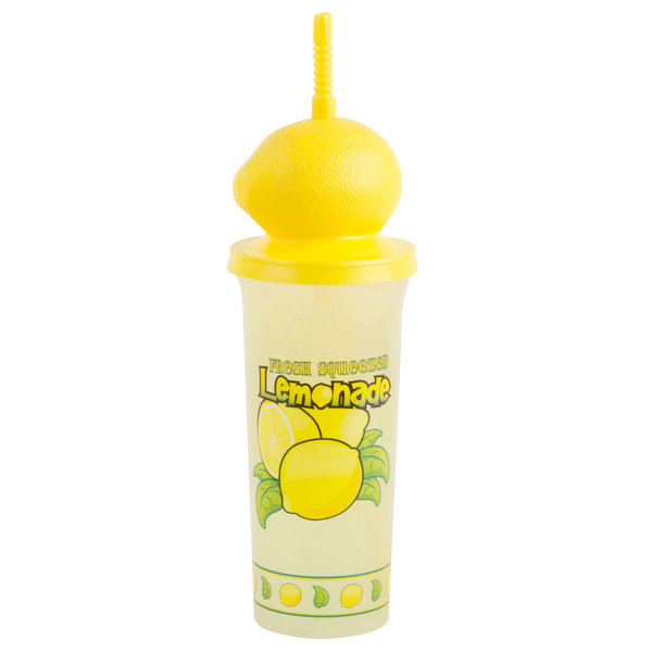32 oz. Tall Plastic Lemonade Cold Cup with Straw and Lemon Top Lid - 100/Case Main Image 2