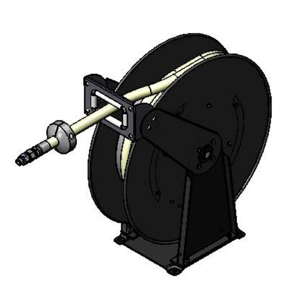 T&S B-7245 50' Open Hose Reel with Epoxy Coated Creamery Hose and Double Arm Support