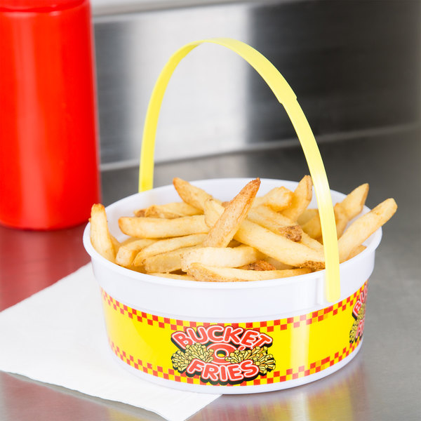 24 oz. Plastic French Fry Bucket with Handle - 200/Case