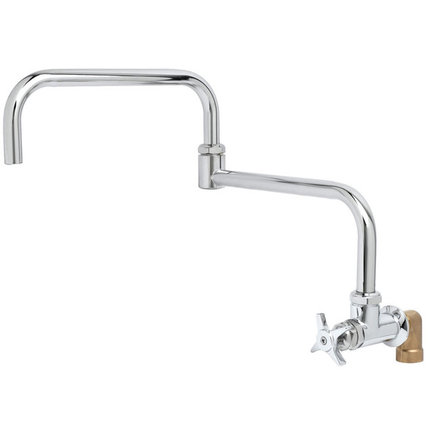 """T&S BF-0299-18DJ Big Flo Polished Chrome Single Hole Wall Mount Faucet with 90 Degree Installation Kit, 18"""" Double Joint Swing Nozzle, and 4 Arm Handle"""