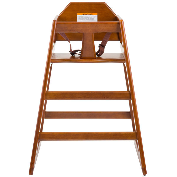 Tablecraft 6666063 Stacking Hardwood High Chair with Walnut Finish - Unassembled Main Image 1