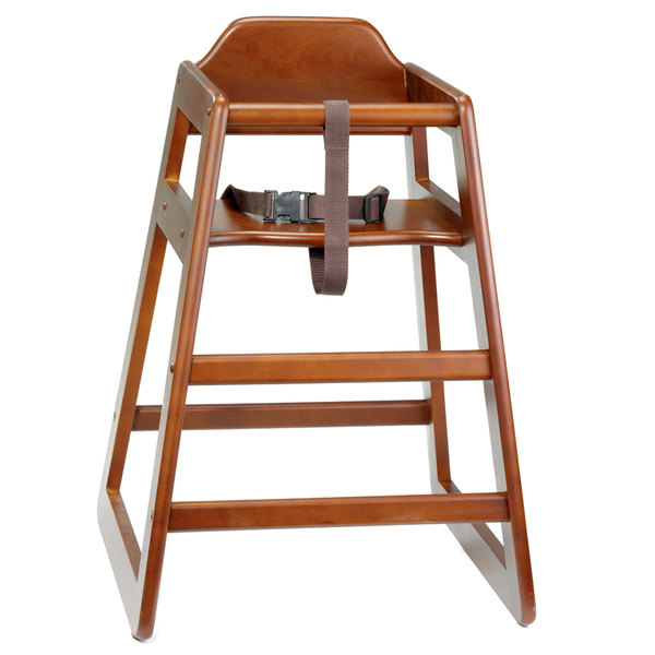 Tablecraft 6666063 Stacking Hardwood High Chair with Walnut Finish - Unassembled
