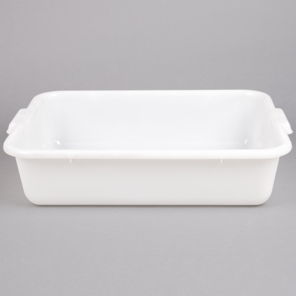 20 inch x 15 inch x 5 inch White Polyethylene Plastic Bus Tub, Bus Box