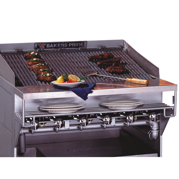 Bakers Pride CH-8 Radiant Charbroiler Stainless Steel Plate Shelf with Richlite Work Deck