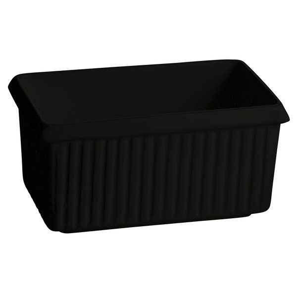 Tablecraft CW1510BKGS 2.25 Qt. Black with Green Speckle Cast Aluminum Rectangle Server with Ridges