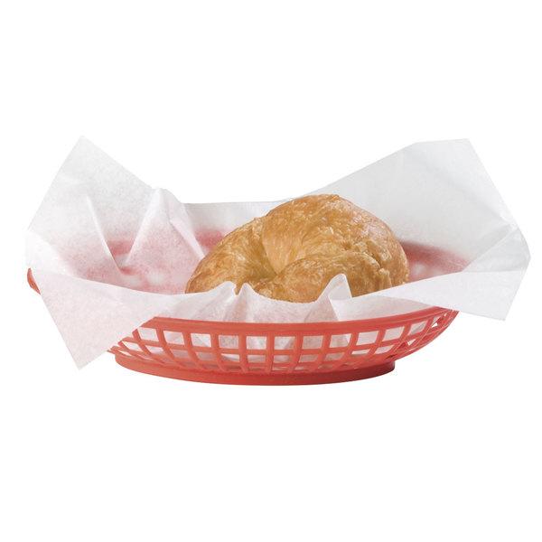 "Carlisle 033305 Oval 9"" x 6"" Red Plastic Fast Food Basket - 36/Case"