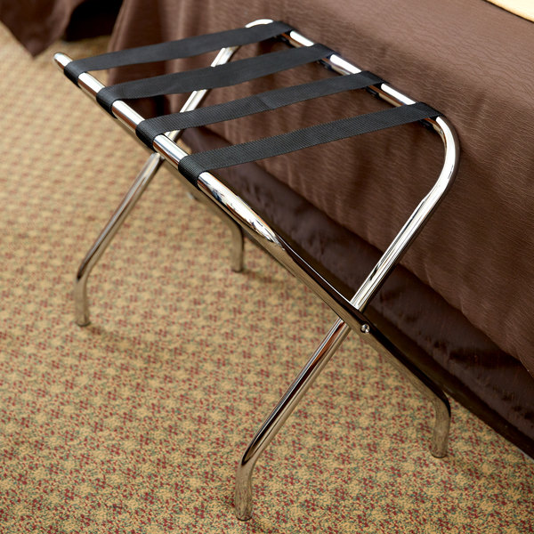 Metal Folding Flat Top Luggage Rack with Chrome Finish and Black Straps