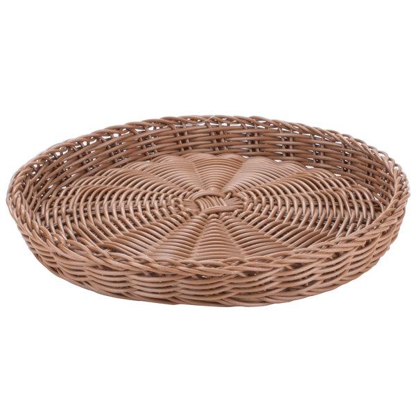 Carlisle 655425 Brown 11 inch Woven Round Basket - 6/Case