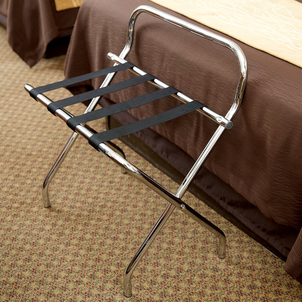 Metal Folding High Back Luggage Rack with Chrome Finish and Black Straps