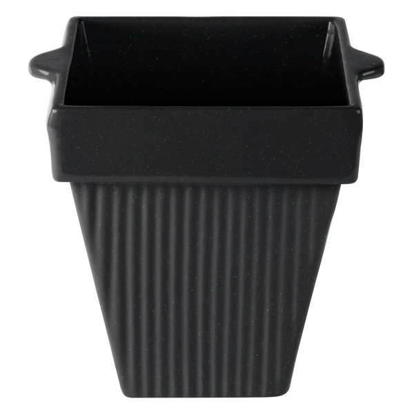 Tablecraft CW1470BKGS 2 Qt. Black with Green Speckle Cast Aluminum Square Condiment Bowl