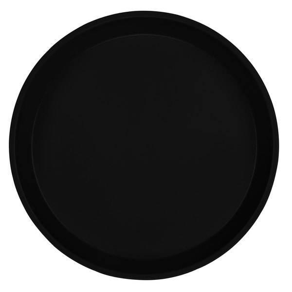 "Cambro 1550110 16"" Low Profile Round Black Customizable Fiberglass Camtray - 12/Case"