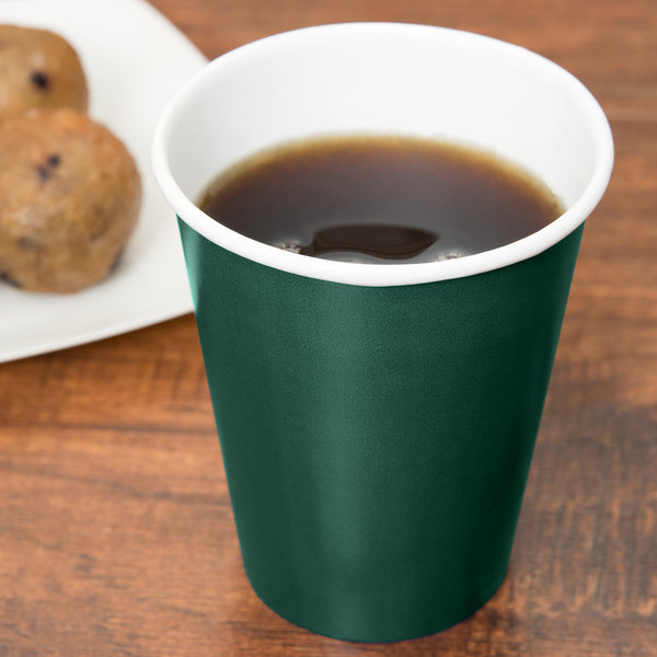 Creative Converting 563124B 9 oz. Hunter Green Poly Paper Hot / Cold Cup - 240/Case Main Image 2
