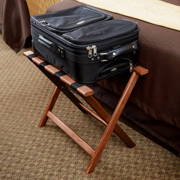 Wood Folding Flat Top Luggage Rack with Light Finish and Brown Straps