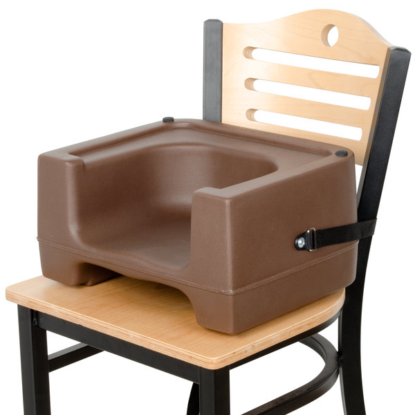 Carlisle 7111-401 Brown Plastic Booster Seat with Safety Strap - Dual Height