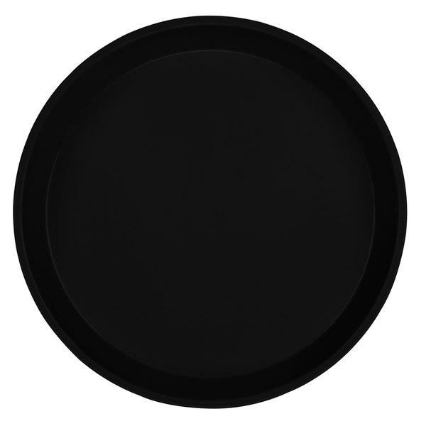 "Cambro 1600110 16"" Round Black Customizable Fiberglass Camtray - 12/Case"