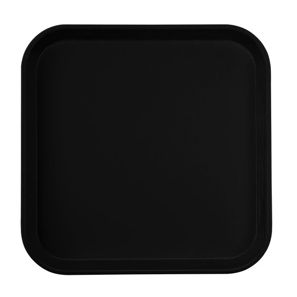 "Cambro 1313110 13"" x 13"" (33 x 33 cm) Square Metric Black Customizable Fiberglass Camtray - 12/Case"