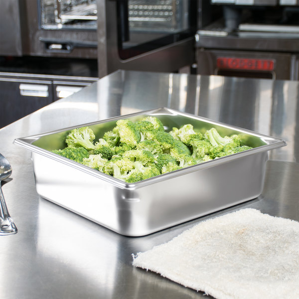 """Vollrath 30142 Super Pan V 2/3 Size Anti-Jam Stainless Steel Steam Table / Hotel Pan - 4"""" Deep"""