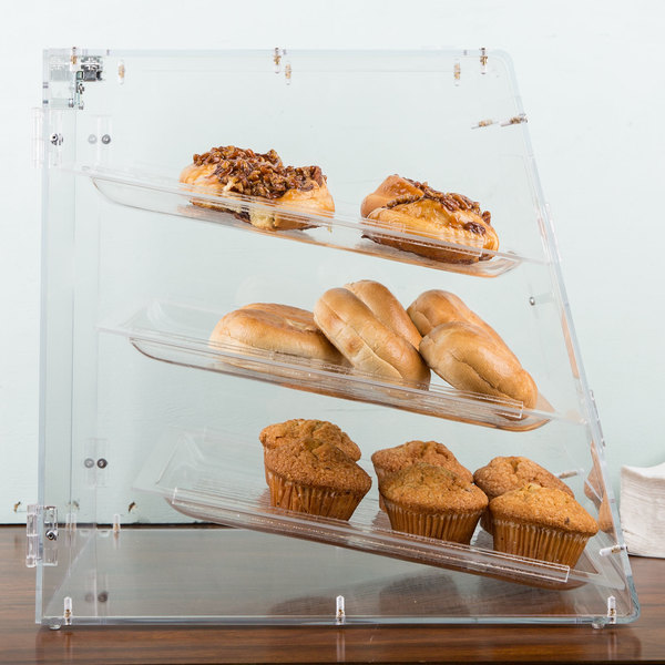 """Carlisle SPD303KD07 18"""" x 14"""" x 17 1/2"""" Unassembled Three-Tray Acrylic Self-Serve Bakery Display Case with Front and Back Door"""