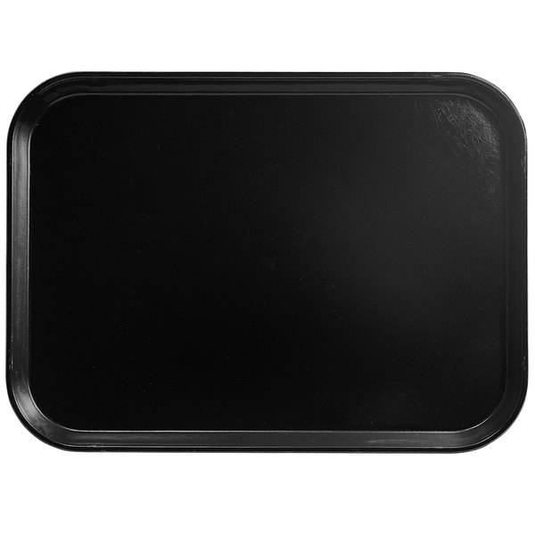 "Cambro 1014110 10 5/8"" x 13 3/4"" Rectangular Black Customizable Fiberglass Camtray - 12/Case"