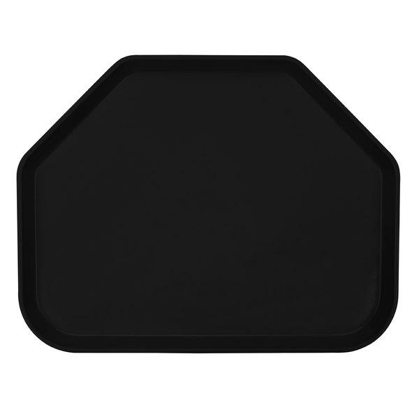 "Cambro 1520TR110 14 9/16"" x 19 1/2"" Trapezoid Black Customizable Fiberglass Camtray - 12/Case"