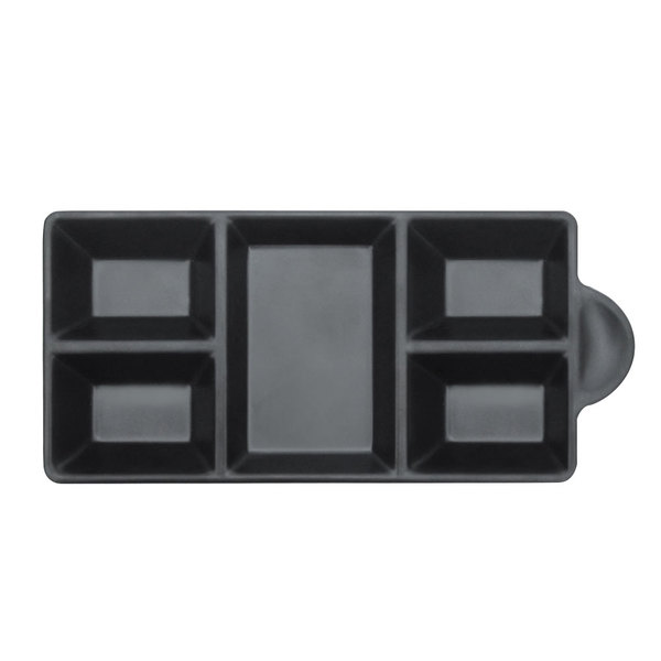 """Elite Global Solutions JWT6C Ore 8 3/4"""" x 4 3/8"""" Black Five-Compartment Tray - 6/Case"""