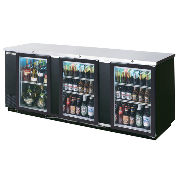 "Beverage-Air BB94HC-1-FG-B 94"" Black Food Rated Glass Door Back Bar Cooler with Three Doors Main Image 1"