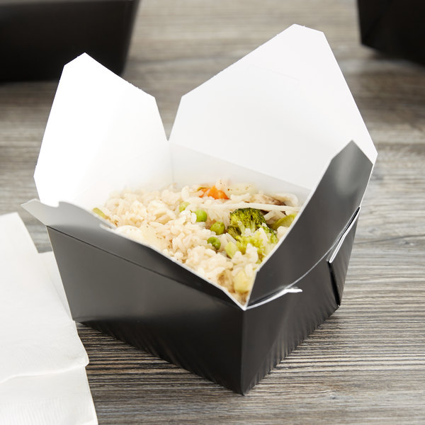 """Bio-Pak 01BPBLACKM 5"""" x 4"""" x 3"""" Black Paper #1 Microwavable Take-Out Container - 50/Pack"""