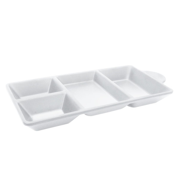 """Elite Global Solutions JWT4C Ore 8 3/4"""" x 4 3/8"""" White Four-Compartment Tray - 6/Case"""