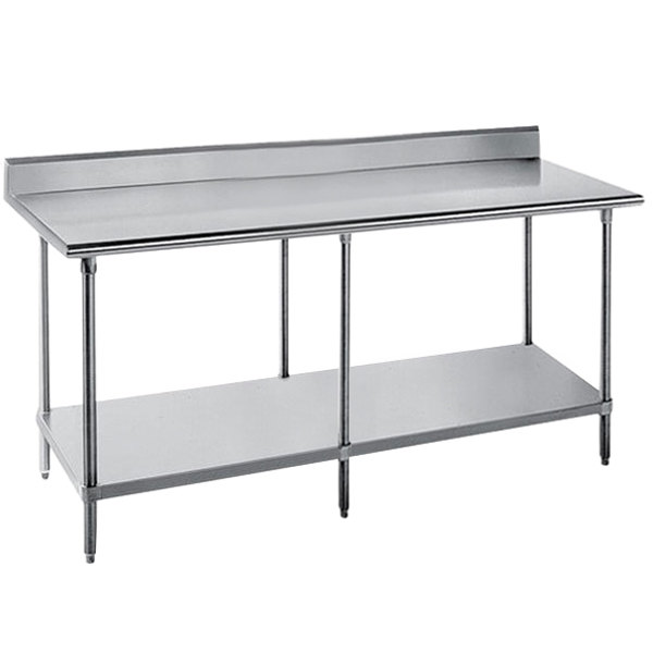 "Advance Tabco SKG-369 36"" x 108"" 16 Gauge Super Saver Stainless Steel Commercial Work Table with Undershelf and 5"" Backsplash"