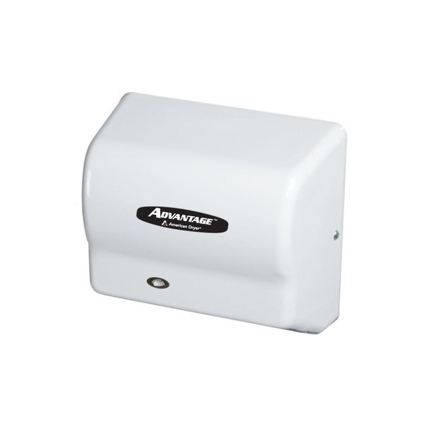 American Dryer AD90 Advantage Series Automatic Hand Dryer with White ABS Cover - 100/240V, 1250-1400W Main Image 1