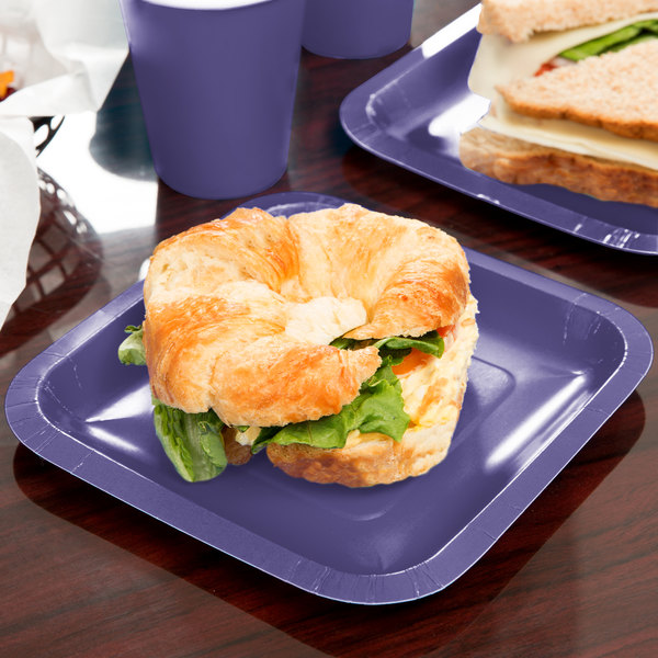 "Creative Converting 453268 7"" Purple Square Paper Plate - 180/Case"