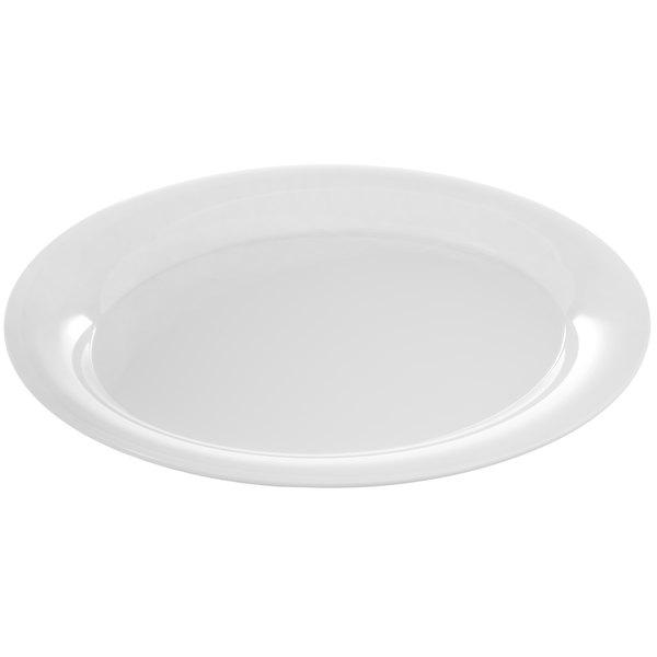 Carlisle 4441002 Palette Designer Displayware White 17 X 13 Melamine Wide Rim Oval Platter 4 Case