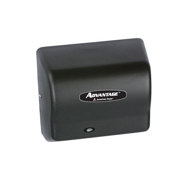 American Dryer AD90BG Advantage Series Automatic Hand Dryer with Black Steel Cover - 100/240V, 1250-1400W