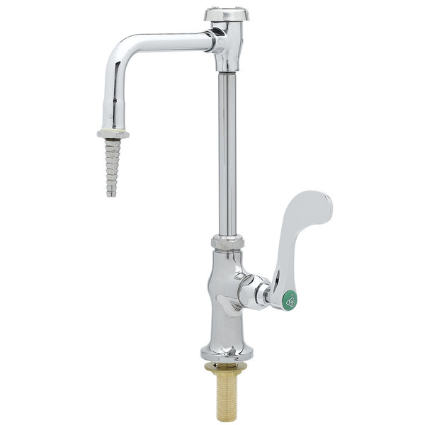 """T&S BL-5709-08WH4 Single Temperature Deck Mount Lab Faucet with 12 11/16"""" Tall Spout, Serrated Tip, 4"""" Wrist Action Handle, Eterna Cartridge, and Vacuum Breaker"""